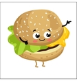 Funny cheeseburger isolated cartoon character vector image