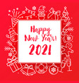 funny pictures and happy new year 2021 on red vector image