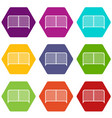 gate icon set color hexahedron vector image vector image