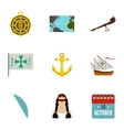 Geography icons set flat style vector image vector image