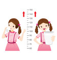 girl drinking milk for health and taller girl vector image vector image