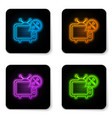 glowing neon tv with screwdriver and wrench icon vector image vector image