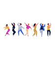 group of young happy dancing people or male and vector image vector image