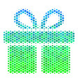 halftone blue-green gift icon vector image vector image