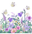 hand drawn meadow flowers and butterflies vector image vector image