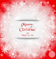Holiday greeting with snowflake red background vector image vector image