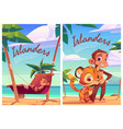 islanders cartoon poster with monkey and tiger cub vector image vector image