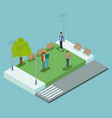 isometric people in park vector image vector image