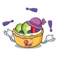 juggling fruit tart mascot cartoon vector image