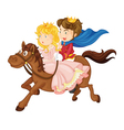king and queen riding on a horse vector image vector image