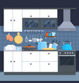 Kitchen home interior with oven and kitchenware vector image