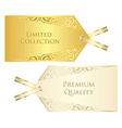 Luxury cream and golden price tag with vintage vector image vector image