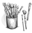Make up brushes collection Brushes in a case vector image vector image