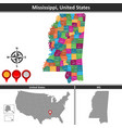 map of mississippi us vector image vector image