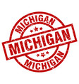 michigan red round grunge stamp vector image vector image