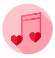 Musical Note with Hearts Circle Icon vector image