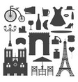 paris icons silhouette famous travel vector image