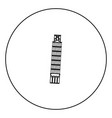pisa tower black icon in circle outline vector image