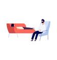 psychotherapist and patient flat man vector image vector image
