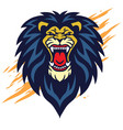roaring lion head logo sports mascot design vector image vector image