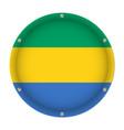 round metallic flag of gabon with screws vector image vector image