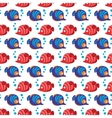 Seamless pattern with tropical fishes and bubbles vector image