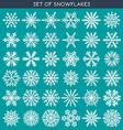 set 36 white different snowflakes handmade vector image