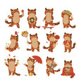 set cute tigers isolated on a white background vector image