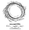 sketch style nest made floral branches vector image