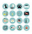veterinary flat icons set vector image