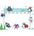 weekly planner with winter penguins cartoon design vector image