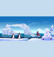 wild animals sitting on ice floes in sea ocean vector image