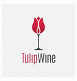 wine glass concept logo on white background vector image