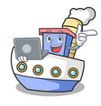 with laptop ship character cartoon style vector image vector image