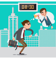 Businessman Late for Work Angry Boss Screaming vector image
