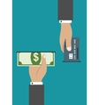 ATM payment by credit card or cash vector image