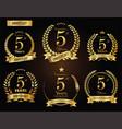 anniversary golden laurel wreath 5 years vector image vector image
