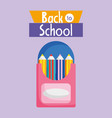 back to school education colored pencils in box vector image vector image