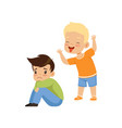boy mocking another bad behavior conflict vector image vector image