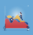 businessman adjust an uptrend graph chart on wall vector image