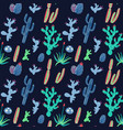 cactus and succulents on black background vector image