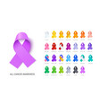 cancer awareness ribbons realistic vector image