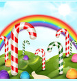 candy garden background with rainbow vector image vector image