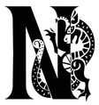 capital letter n with gargoyle vector image vector image