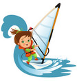 cartoon boy waving hello and sailing in sea vector image
