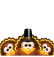 Cartoon turkeys in a pilgrim outfit vector image vector image