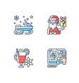 christmas time recreation rgb color icons set vector image