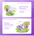 city park character right place to relax and sport vector image vector image