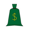 color silhouette cartoon green money bag with vector image