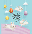 colorful decorative eggs hanging on strings vector image